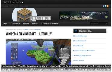 http://crafthub.net/blog/2010/11/19/wikipedia-on-minecraft-literally/