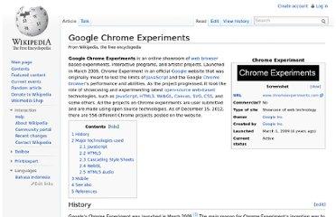 http://en.wikipedia.org/wiki/Google_Chrome_Experiments