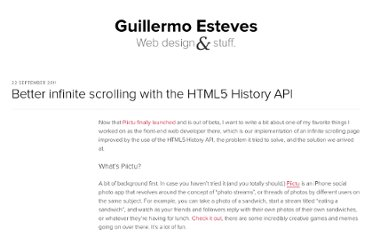 http://blog.gesteves.com/2011/09/22/better-infinite-scrolling-with-the-html5-history-api/