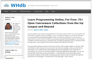 http://whdb.com/blog/2008/learn-programming-online-for-free-75-open-courseware-collections-from-the-ivy-league-and-beyond/