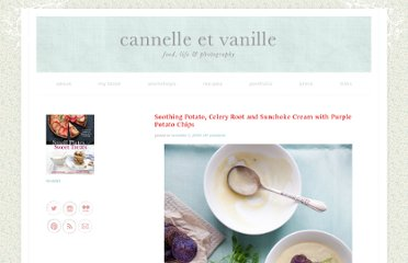 http://www.cannellevanille.com/gluten-free/soothing-potato-celery-root-and-sunchoke-cream-with-purple-potato-chips/