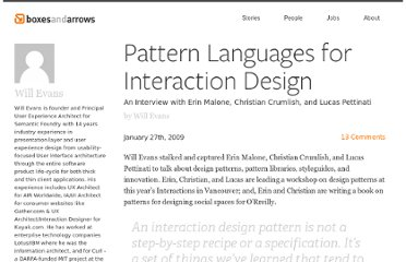 http://boxesandarrows.com/pattern-languages-for-interaction-design/
