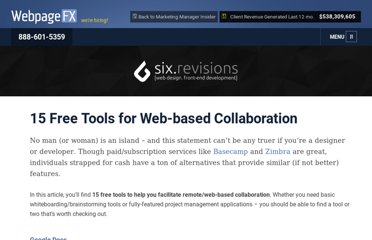 http://sixrevisions.com/tools/15-free-tools-for-web-based-collaboration/