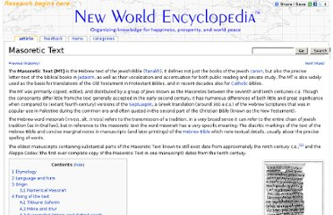 http://www.newworldencyclopedia.org/entry/Masoretic_Text