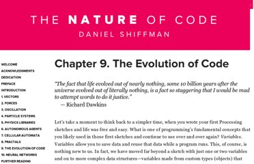 http://natureofcode.com/book/chapter-9-the-evolution-of-code/