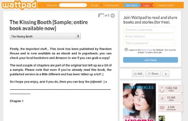 http://www.wattpad.com/1215370-the-kissing-booth-sample-entire-ebook-available-13
