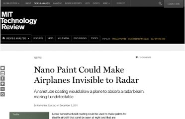 http://www.technologyreview.com/news/426276/nano-paint-could-make-airplanes-invisible-to-radar/
