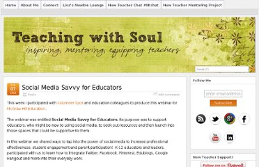 http://www.teachingwithsoul.com/2013/social-media-savvy-for-educators