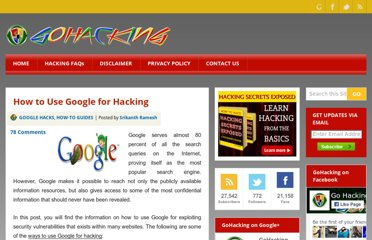 http://www.gohacking.com/use-google-for-hacking/