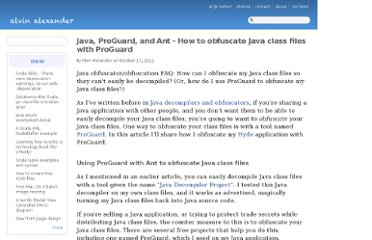 http://alvinalexander.com/java/obfuscate-java-class-files-proguard-ant-build-decompile