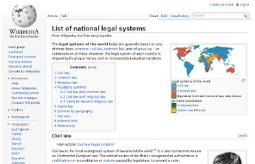 http://en.wikipedia.org/wiki/List_of_national_legal_systems