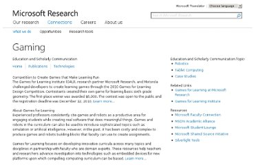 http://research.microsoft.com/en-us/collaboration/focus/education/games.aspx