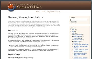 http://www.cocoawithlove.com/2009/07/temporary-files-and-folders-in-cocoa.html