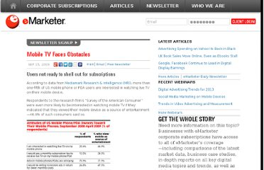 http://www.emarketer.com/Article/Mobile-TV-Faces-Obstacles/1007273