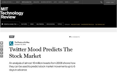 http://www.technologyreview.com/view/421251/twitter-mood-predicts-the-stock-market/