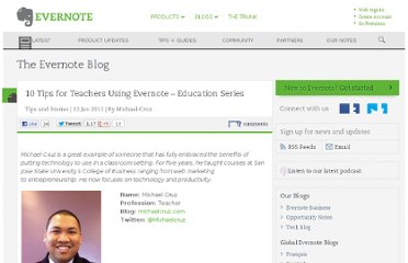 http://blog.evernote.com/blog/2011/01/13/10-tips-for-teachers-using-evernote-education-series/