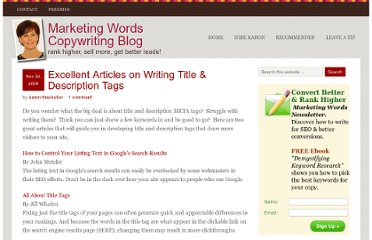 http://www.marketingwords.com/blog/excellent-articles-on-writing-title-description-tags/