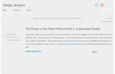 http://sjespers.com/blog/2009/04/29/the-power-of-the-flash-platform-part-2-augmented-reality/