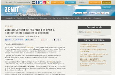 http://www.zenit.org/fr/articles/vote-au-conseil-de-l-europe-le-droit-a-l-objection-de-conscience-reconnu