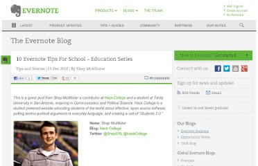 http://blog.evernote.com/blog/2010/12/15/10-evernote-tips-for-school-education-series/