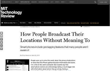 http://www.technologyreview.com/news/423807/how-people-broadcast-their-locations-without-meaning-to/