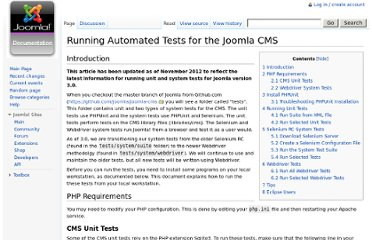 http://docs.joomla.org/Running_Automated_Tests_for_the_Joomla_CMS