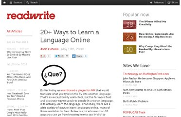 http://readwrite.com/2008/05/19/20_ways_to_learn_a_language_online