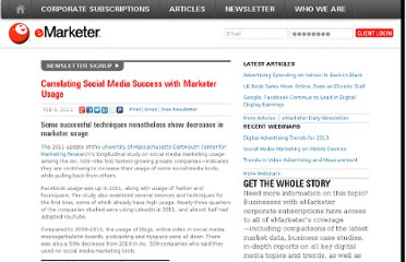 http://www.emarketer.com/Article/Correlating-Social-Media-Success-with-Marketer-Usage/1008816