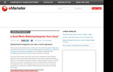 http://www.emarketer.com/Article/Social-Media-Marketing-Integration-Years-Away/1008069