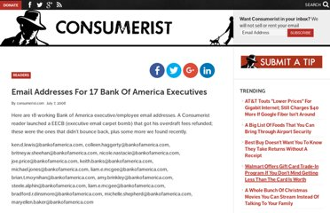 http://consumerist.com/2008/07/07/email-addresses-for-17-bank-of-america-executives/