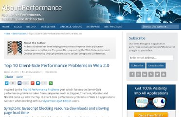 http://apmblog.compuware.com/2010/08/25/top-10-client-side-performance-problems-in-web-2-0/