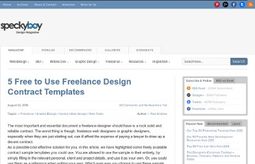 http://speckyboy.com/2010/08/12/5-free-to-use-freelance-design-contract-templates/