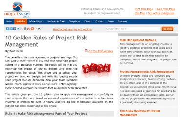 http://www.projectsmart.co.uk/10-golden-rules-of-project-risk-management.html