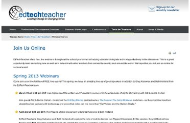 http://edtechteacher.org/index.php/teaching-technology/webinars#archives