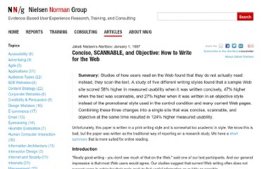 http://www.nngroup.com/articles/concise-scannable-and-objective-how-to-write-for-the-web/