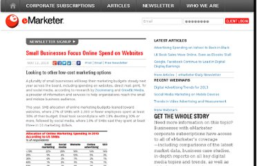 http://www.emarketer.com/Article/Small-Businesses-Focus-Online-Spend-on-Websites/1008036