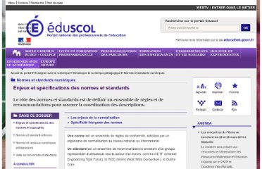 http://eduscol.education.fr/cid57097/enjeux-specifications-des-normes-standards.html