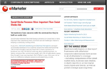 http://www.emarketer.com/Article/Social-Media-Presence-More-Important-Than-Social-Media-Ads/1008634