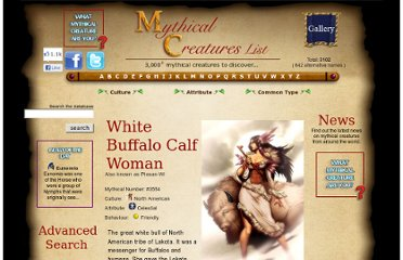 http://www.mythicalcreatureslist.com/mythical-creature/White+Buffalo+Calf+Woman