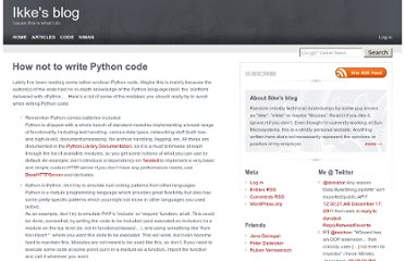 http://eikke.com/how-not-to-write-python-code/index.html