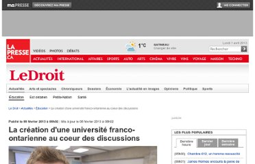 http://www.lapresse.ca/le-droit/actualites/education/201302/08/01-4619639-la-creation-dune-universite-franco-ontarienne-au-coeur-des-discussions.php