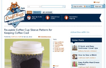 http://www.craftfoxes.com/blog/reusable-coffee-cup-sleeve-pattern-for-keeping-coffee-cool