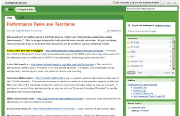 http://hardingmathspecialist.pbworks.com/w/page/48121495/Performance%20Tasks%20and%20Test%20Items
