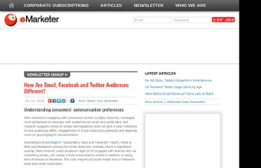 http://www.emarketer.com/Article/How-Email-Facebook-Twitter-Audiences-Different/1007829