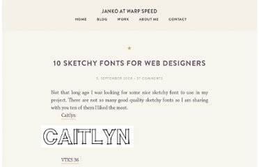 http://www.jankoatwarpspeed.com/10-sketchy-fonts-for-web-designers/