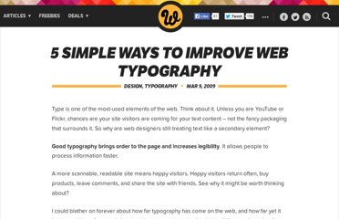 http://www.webdesignerdepot.com/2009/03/5-simple-ways-to-improve-web-typography/