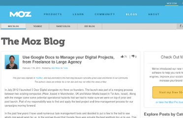 http://www.seomoz.org/blog/use-google-docs-to-manage-your-digital-projects-from-freelance-to-large-agency