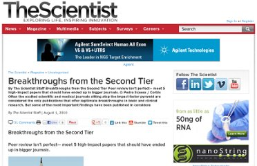 http://www.the-scientist.com/?articles.view/articleNo/29180/title/Breakthroughs-from-the-Second-Tier/