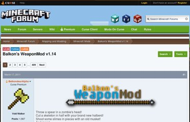 http://www.minecraftforum.net/topic/211517-146147forge-balkons-weaponmod-v110/