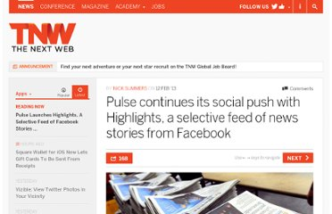 http://thenextweb.com/apps/2013/02/12/pulse-continues-its-social-focus-with-highlights-a-curated-feed-of-stories-powered-by-facebook/